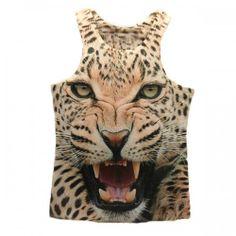 T-shirt Debardeur effet 3d Leopard tiger Swag Rock Men Fashion