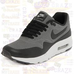 new product 567df cb69c Nike Air Max 1 Ultra Moire Dark Grey Black Mens Sneakers Shoes