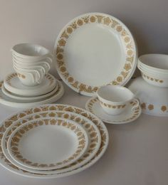 32 pieces Corelle / Pyrex Butterfly Gold Dish Set / Vintage Dishes by Feisty Farmers Wife