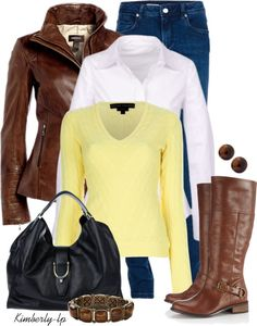 """""""Yellow Cable Knit Sweater"""" by kimberly-lp on Polyvore"""