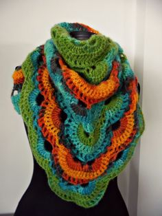 Crocheted scarf virus shawl romantic boho by Handpaintedworld