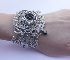 Butterfly Steampunk Watch  Gothic jewelry  Fantasy Bracelet cuff. $30.00, via Etsy.
