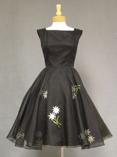 Vintageous, LLC - Black Organdy Vintage Cocktail Dress w/ Floral Embroidery, $185.00 (http://www.vintageous.com/black-organdy-vintage-cocktail-dress-w-floral-embroidery/)