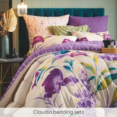 The Claudia bedding set brings a modern and playful update to your bedroom. Floral and geometric patterns come together to create a pretty set for anyone looking for a relaxing space. Because it's reversible, it allows you to pick exactly how you want your room to look depending on your mood - and it feels great, too! Geometric Patterns, Feeling Great, Bedding Sets, Comforters, Feels, Mood, Blanket, Bedroom, Space