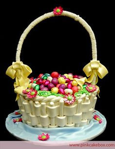 Easter Basket Cupcakes,  Ribbon Decorated Easter Basket Cupcakes, Celetion Cakes#Easter Basket Cupcake#