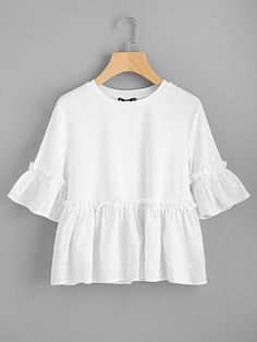SheIn offers Eyelet Embroidery Flounce Trim Mixed Media Tee & more to fit your fashionable needs. Modern Outfits, Cool Outfits, Casual Outfits, Girls Fashion Clothes, Fashion Outfits, Top Chic, Southern Outfits, Fancy Tops, Whimsical Fashion