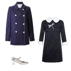 See by Chloé double-breasted coat, $680; farfetch.com; A.W.A.K.E. jacquard dress with dragonfly embellishment, $1,255; brownsfashion.com; Avril Gau metallic Mary Jane shoe, $319; farfetch.com