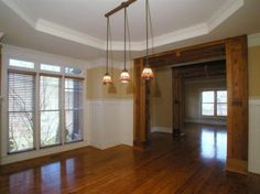 love the wooden door accents for the dining room