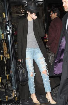 Love this look - rag & bone jeans, the hat & bag - Givenchy and Haider Ackermann coat #kendall #pfw