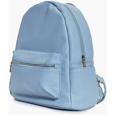 Boohoo Alice Metal Zip Detail Rucksack | Boohoo (425 MXN) ❤ liked on Polyvore featuring bags, backpacks, daypack bag, blue bag, blue backpack, metal backpack and zip bag