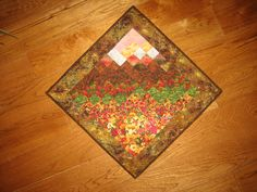 Art Quilt, Fall Sunset Mountains Diagonal Wall Hanging by TahoeQuilts on Etsy