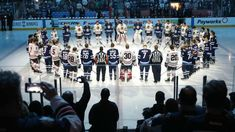 PHOTO: Winnipeg Jets and Chicago Blackhawks players honor those involved in the Humboldt Broncos bus crash tragedy before NHL action, April 2018 at Bell MTS Place in Winnipeg, Manitoba. Chicago Blackhawks Players, Broncos Players, Jets Hockey, Ice Hockey, Hockey Mom, Kings Hockey, Le Choc, Canada