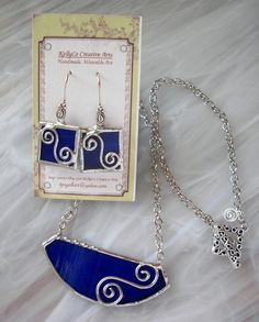 KellyCo Creative Arts - Cobalt stained glass with wirework, necklace and earring set