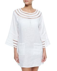 Solamir Cutout-Trim Linen Dress, White - Tory Burch