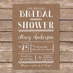 Printable Bridal Shower Invite / Kraft Paper Background / DIY Wedding / Nature Inspired