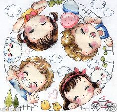"""Happy village"" Counted cross stitch chart. SODAstitch SO-3155"