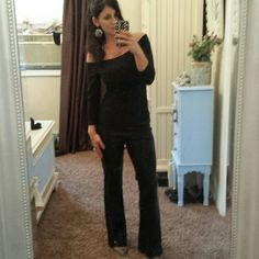 Express -Black sequin dress boot leg pants Express- black sequin style pull on slight flared leg pants..regular length - cotton and spandex ..so nice with fuzzy Cami ! Not very heavy true to size 2-4 worn twice Express Pants Boot Cut & Flare