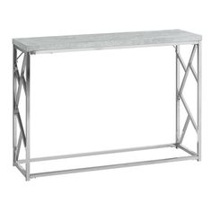 Monarch Specialties Grey Modern Console Table at Lowe's. If you need just one piece of furniture to bring that extra wow to your space, start with this extra chic industrial inspired rectangular console table. Metal Console, Metal Accent Table, Table Top Frame, Modern Console, Particle Board, Gray Console Table, Modern Console Tables, Chrome, Accent Table