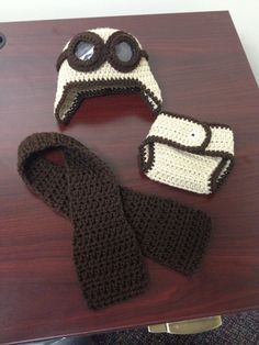 Aviator baby hat set Newborn 6 month 9 12 by KikisBabyChic on Etsy, $35.00