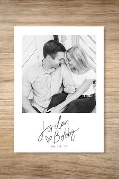 The cutest save the date in polaroid style! Love this black & white photo feel x