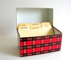 Vintage Recipe Box Red Plaid Ohio Art Tin Black White Retro Metal Kitchen Storage, via Etsy.