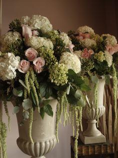 wedding arrangements with titanic roses and hydrangeas  www.littlebirdieevents.com