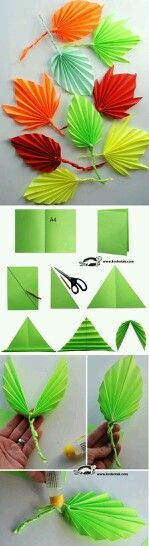 DIY paper leaves tutorial , paper flowers paper in half draw diagonal cut along diagonal.use 2 loose triangles to twist into vine open symmetrical triangle and fold leave if folded, twist paper vine or pipecleaner into middle open and tape Origami Paper, Paper Quilling, Diy Paper, Paper Crafting, Paper Art, Diy Origami, Kids Crafts, Diy And Crafts, Arts And Crafts