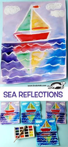 SEA+REFLECTIONS - Watercolor painting with a crayon or oil pastel resist of a sail boat with a reflection in the water between waves. Art lesson idea for or grade. Painting For Kids, Art For Kids, Crafts For Kids, Toddler Drawing, Sailboat Art, Sailboats, Oil Pastel Art, Oil Pastels, Reflection Art