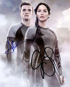 Josh Hutcherson and Jennifer Lawrence Hand signed 8x10 photo w/COA