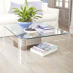 Wisteria   Furniture   Coffee Tables   Acrylic Table With Glass   Coffee  Table: