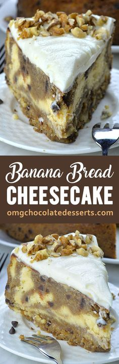 This Banana Bead Cheesecake is such a fun alternative to traditional cheesecake and banana bread. And this two delicacies baked together makes one show-stopper dessert! Unique Desserts, Köstliche Desserts, Chocolate Desserts, Delicious Desserts, Dessert Recipes, Make Banana Bread, Chocolate Chip Banana Bread, Banana Bread Recipes, Best Cheesecake