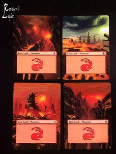 4x Mountain - Full Art - MTG Alter - Revelen's Light Altered Art Magic Card