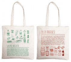 Recipe bags by Illustrator Alessandra Olanow : http://www.oneandthesamenyc.com/