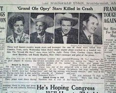 Patsy Cline death in Country Western Singers, Country Artists, Country Music Stars, Country Music Singers, Patsy Cline, Newspaper Headlines, Loretta Lynn, History Facts, History Timeline
