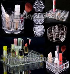 1x Crystal Acrylic Cosmetic Organizer Makeup case Lipstick Holder Heart Shape