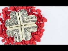 Origami tutorial on how to fold a shamrock out of Dollar Bills. An origami four leaf clover is a great money gift idea. To make this money origami cloverleaf. Money Rose, Money Lei, Money Origami, Money Cards, Paper Crafts Origami, Gift Money, Fold Dollar Bill, Dollar Bill Origami, Dollar Bills