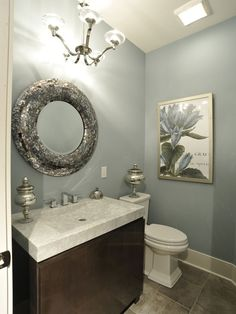 Small Bathroom Remodel.  Like the vanity and wall color.