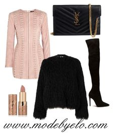 """Chic"" by mode-elo on Polyvore featuring mode, Balmain, Yves Saint Laurent, Samsøe & Samsøe et tarte"