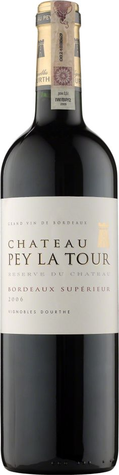 Chateau Pey La Tour Reserve Du Chateau Bordeaux Superieur A.O.C. To wino z wyraźnie dominującym aromatem odmiany merlot, kruchą nutą jeżyn i słodyczą dojrzałych, czerwonych owoców. Dojrzewa w beczkach dębowych od 12 do 15 miesięcy. #Wino #Bordeaux #Winezja #Chateau #PeyLaTour Chateau Bordeaux, Saint Emilion, Red Wine, Alcoholic Drinks, Bottle, Glass, Vineyard, Alcoholic Beverages, Drinkware