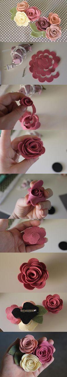 DIY felt flower brooch. Craft ideas from LC.Pandahall.com