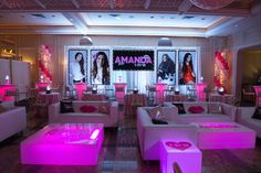 Pink Bat Mitzvah Lounge with Hearts & Lip Pillows {Party by Balloon Artistry} - mazelmoments.com