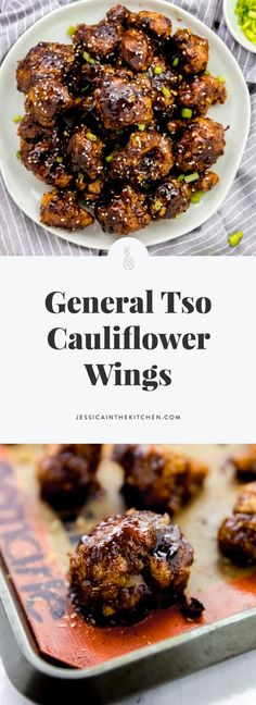 These General Tso Cauliflower Wings taste just like your favourite Chinese takeout order! They are crispy, deliciously battered and are coated in a General Tso Sauce! General Tso Cauliflower Wings (Vegan) Jessica in the Kitchen Vegetable Recipes, Vegetarian Recipes, Healthy Recipes, Vegan Meals, Vegan Food, Free Recipes, Quick Recipes, Yummy Recipes, Keto Recipes