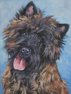 cairn terrier dog art portrait Canvas print of LA Shepard painting 12x16