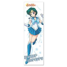 Snuggle up with Sailor Mercury and maybe catch up on the sleep you've been missing with this comfortable Sailor Moon Sailor Mercury Body Pillow. The pillow features the Agent of Love and Exams in her short blue skirt and light blue bow with her short green hair parted down the middle. The body pillow measures 42-inches long x 13 1/2-inches wide.