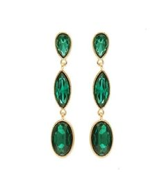 Gold Green Crystal Drop Earrings #DiscountedPalace #DropDangle