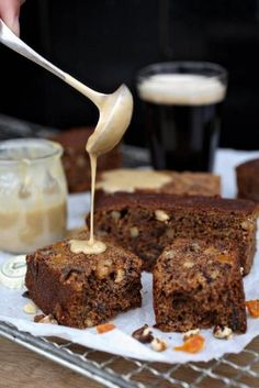 Apricot, Date and Guinness Slices with Guinness Cream Sauce