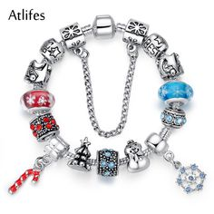 Atlifes Luxury Silver Charm Bracelet & Bangle for Women With High Quality Murano Glass Beads DIY Christmas Element Gift PD1806