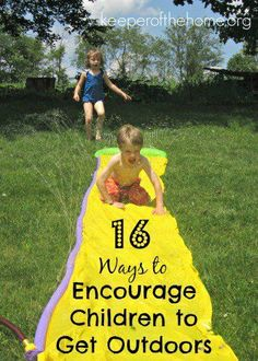 Remember the summers of your childhood? Did you spend long days outside? Were they spent riding bikes, climbing trees, playing hopscotch, or building sandcastles? These days with all the allures of video games and indoor activities – it's hard to get kids to go have fun outside! Here's 16 ideas for you to encourage your kids to get outside.