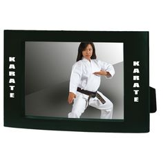 """Karate Black Picture Frame tc99-TEMP3KT. Black Picture Frame with """"Karate"""" printed vertically on both right and left side."""