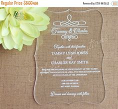 ON SALE Acrylic Wedding Invitations in Clear Engraved Plexiglass 5x7""